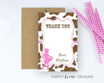 Cowgirl Thank You Card Digital Two 4x6 cards on 8.5x11 JPEG