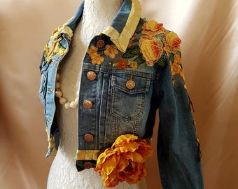 FESTIVAL Boho Upcycled Spring Chic Denim Jacket Country Chic size 6/8 Hippy  Couture Romantic Bohemian   OOAK Wearable Art