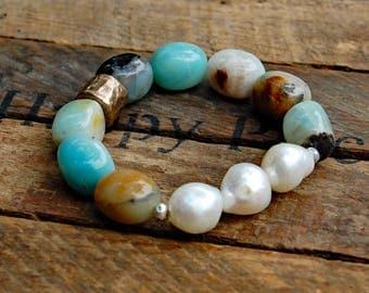 Fresh Water Pearl, Bronze & Amazonite Bracelet