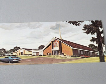 Vintage Color Postcard Post Card Pulaski VA Church of God 1970s