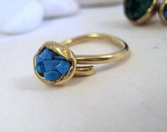 Bronze Ring- Turquoise Stone- Adjustable Ring- Free Shipping Worldwide