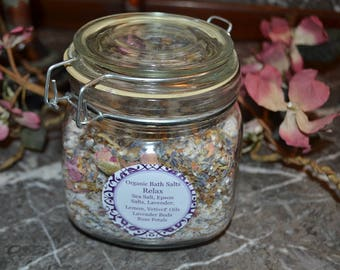 Organic Bath Salts~ RELAX~ French Lavender~ Lemon~ Vetyver~24 ounces ~All Natural