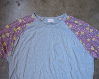 Vtg Grey Distressed Washed Out Cotton Grunge Raglan Floral T-Shirt Large XL 90's