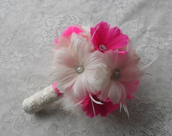 Fushia Feather Bouquet, Wedding Bouquet, Hot Pink Bridal Bouquet, Gatsby Bouquet, Feather Bouquet, Brooch Bouquet,Gatsby Wedding,MANY COLORS
