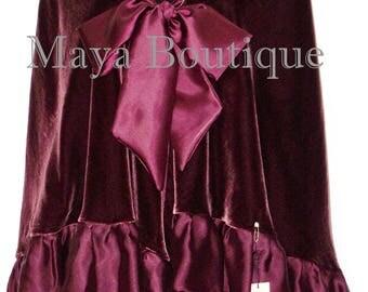 Burgundy Reversible Silk Velvet Cape Capelet Shawl Wrap W Ruffles Maya Matazaro
