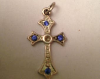 Sterling Silver Cross Charm With 4 Blue Rhinestones May Be Missing Rhinestone in Center or May Have Never Had One In The Center Of Cross