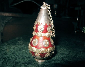 Vintage Gourd Snuff Bottle with Ornate Silver Disks from Afghanistan