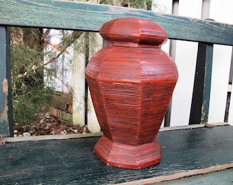 Bamboo Ginger Jar, Vintage Storage Container, Basket, Box, Octagonal Shaped with Lid from Vietnam