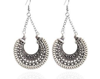 Silver/White Dangle Earrings