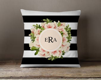 Throw Pillow, Pillow Cover,  Dorm Pillow Personalized Pillow, Monogram: Vintage Flowers and Stripes Three