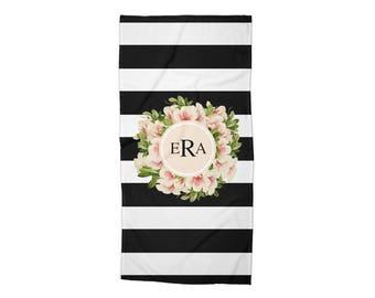 Bath Towel, Towel, Beach Towel,  Monogrammed, Personalized, Stripes, Vintage Flowers, Flowers