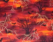 Halloween fabric cotton quilt BTY Hoffman Boo-tique Spooky Night Red bat orange black metallic gold yard 36 inches lightning bolt tree goth