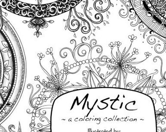 Mystic Coloring Book Original Art Moon Phases, Crescents & Mandalas