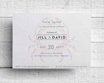 Seafood Invitation, Seafood Dinner, Crab Invitation, Crab Boil, Crab Rehearsal Dinner Invitation, Wedding Rehearsal, Printed, SAMPLE