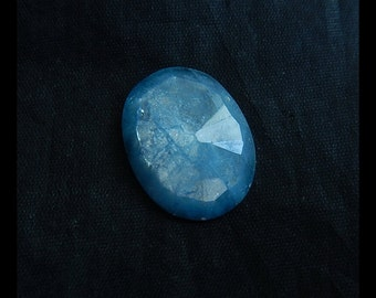 Blue Aquamarine Gemstone  Faceted Cabochon For Pendant(No Drilling),26x19x7mm,5.4g(a0401)
