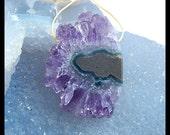 Drusy Amethyst Gemstone Pendant Bead,40x29x8mm,15.4g