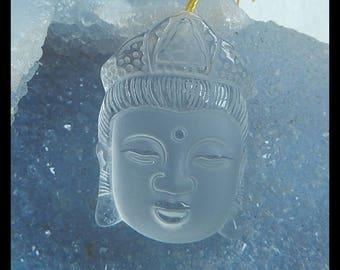 New,Carved Natural White Quartz Buddha Head Pendant Bead,39x27x14mm,25.1g