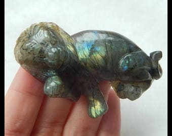 Carved Labradorite Lion Gemstone Cabochon,65x45x15mm,34.8g