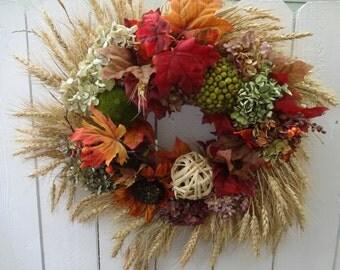Harvest Wreath  Autumn Wreath  Wheat Wreath  Door Wreath  Fall Wreath  Festive Wreath  Thanksgiving Wreath Hydrangea Wreath
