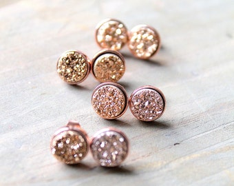 Rose Gold Druzy Bridesmaid Sets Of Stud Earrings. 8mmTiny Titanium Druzy Studs.18k Rose Gold Studs. Bridesmaid Gift.Simple Minimalist Studs