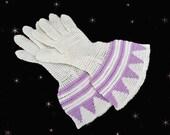 1920s Flapper Gloves - Art Deco Gloves - Vintage Crochet Gloves - French Cuff Crocheted Gloves - Lavender White Glove Set -Womens 20s Gloves