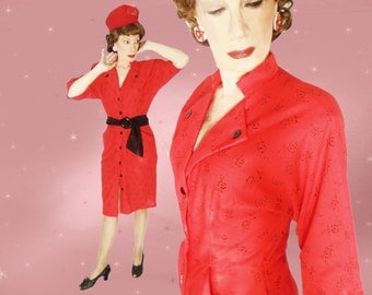 Red Pencil Dress, 40s Style Dress with Dolman Sleeves, 70s does 40s with Pockets, WWII Reenactment Dress, Slim Red Sheath, Swing Dancing
