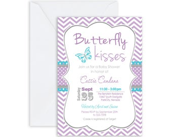 Printed Butterfly Kisses Baby Shower Invitation, purple, teal, chic, girl baby shower invitation, typography (FREE ENVELOPES)