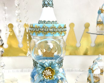 Little Prince Baby Shower Centerpiece / Boys Baby Blue U0026 Gold Table  Centerpiece / Little Prince