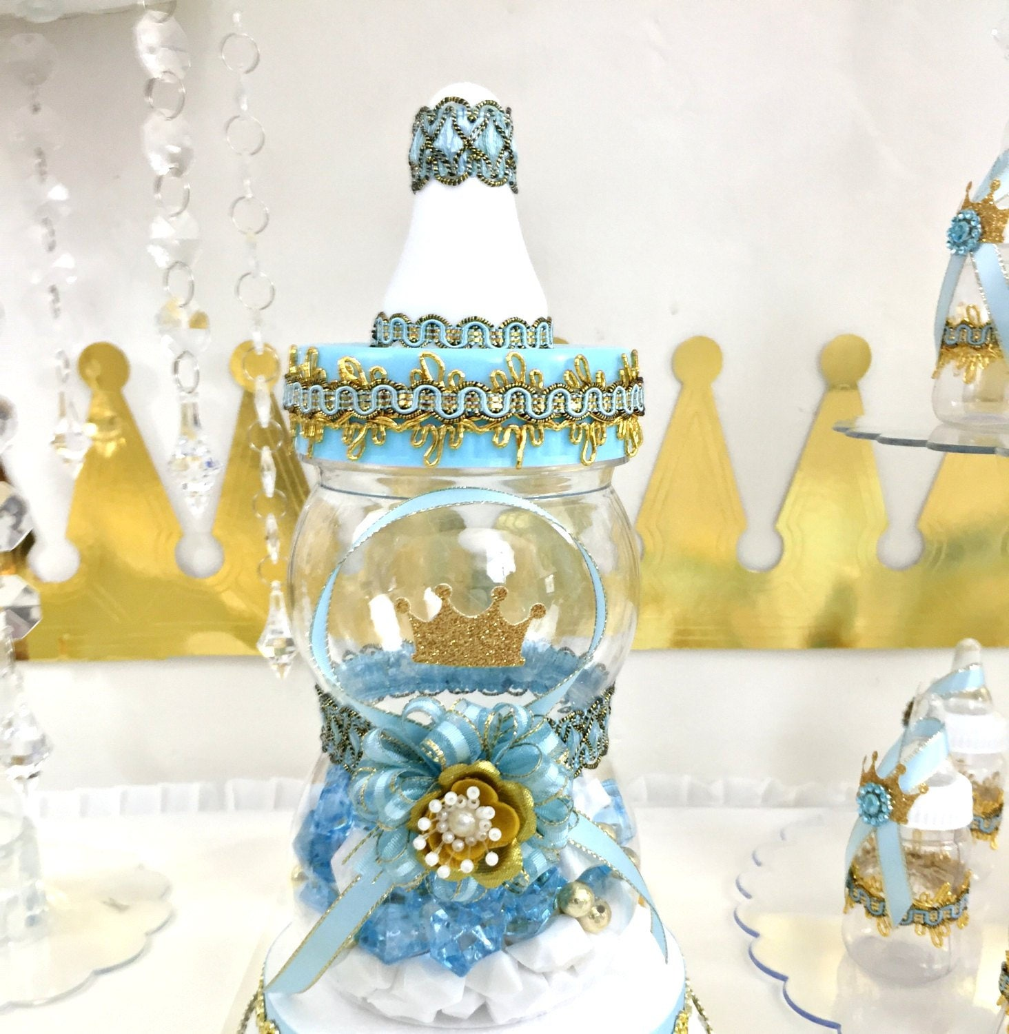 Little prince baby shower centerpiece boys blue gold