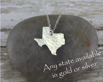 Silver Texas Necklace - Silver Texas State Necklace - Silver Texas Pendant - Going Away Gift - Bridesmaid Gift