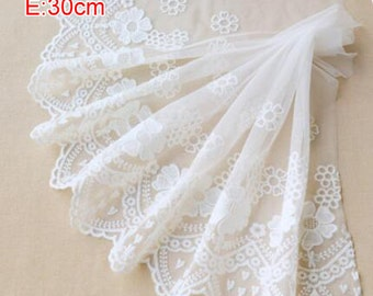 "5 yard 30cm 11.81"" wide ivory/beige tulle gauze mesh fabric embroidered tapes lace trim ribbon 47203 1027 free ship"