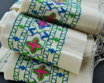 Vintage Blue Green Pink Embroidered Fabric Trim By the Yard