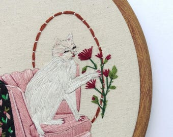 ON SALE Rosaline Considers A Gift. Hand Embroidered Cat. Hand Stitched Kitty. Modern Hand Embroidery Hoop Art. Wood Grain Hoop. Cat Lady