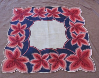 Beautiful Blue Pink Floral Cotton Hankie Handkerchief -  - Unused