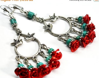 SALE Red Rose Chandelier Earrings, Bird Earrings,  Turquoise Chandelier Earrings, Frida Earrings, Christmas Earrings