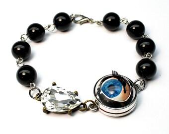 Doll Eye Bracelet Black Agate Chunky Jewelry Teardrop Punk