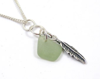 Sea Glass and Sterling Silver Feather Charm Necklace, Feather Charm, Sea Glass Necklace, Charm Necklace, c196