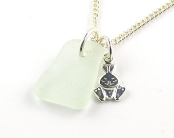 Sea Glass Jewelry | Sterling Silver Rabbit Charm | Sterling Silver Necklace | Seaglass Necklace | Beach Jewelry | Charm Necklace