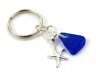 Sterling Silver Key Chain | Key Ring | Silver Key Ring | Beach Glass | Key Chain | Starfish Charm | Nautical - Cobalt Blue Sea Glass