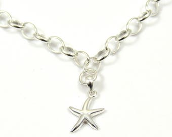 Sterling Silver Bracelet with a Starfish Charm - Silver Bracelet -  Sterling Silver Bracelet -  Starfish Bracelet - Nautical - Beach Wedding