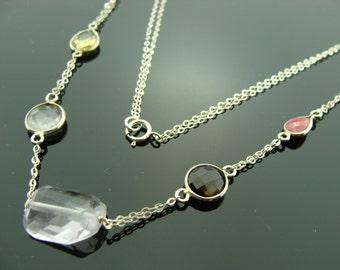 Multi Gemstone 925 Sterling Silver Bezel Set Necklace