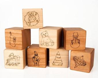 Wood Blocks Set // Christmas Toy // Eco-Friendly // Montessori Learning Toy