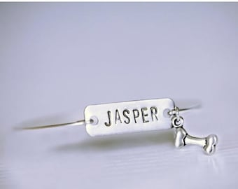 SPRING SALE Dog Name Bracelet, Bone Name Tag Bangle, Dog Name Plate Silver Bracelet, Silver Initial Rectangle Tag, Name Custom Dog Bracelet,