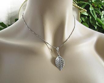 Single Leaf Sterling Silver Pendant Necklace, Naturalist