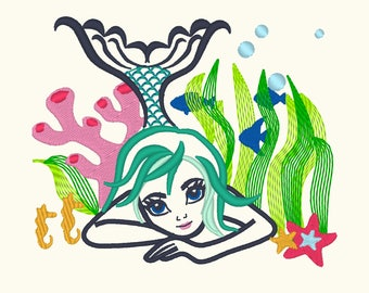 Colorful Mermaid embroidery design, outline design, mermaid Embroidery, designs for hoops 4x4 5x7 and 6x10