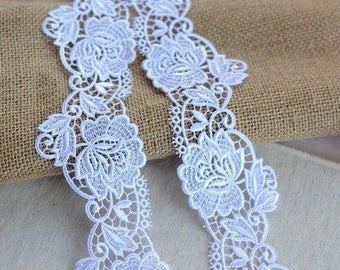 White Venice Lace Rose Emboridered Lace Trim 2 Yards For Costume Dress Table Cloth Curtain Supply