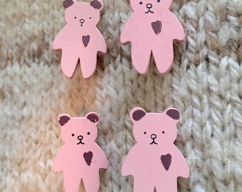 Set of 4 Pink Teddy Bear Buttons, 1.25 inch, Painted Wooden Buttons, Great for Knits, Sewing, Crochet, Decorative, Shank Buttons