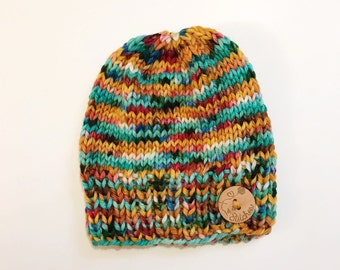 Multicolor Hand Dyed Merino Knit Slouchy Beanie Hat