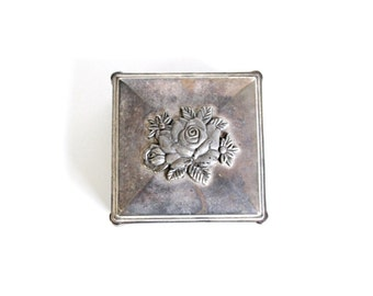 Vintage Ring Box . floral ring box . ring pillow alternative . metal jewelry box . memorial box . floral box . rose box