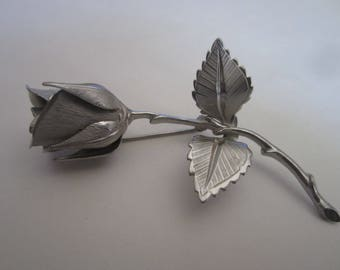 Vintage Giovanni Silver Tone Rose Pin Brooch with Leaves